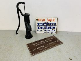 "A VINTAGE ENAMELLED ""HOWLETT & EDRICH ACLE"" FOR SALE SIGN,"