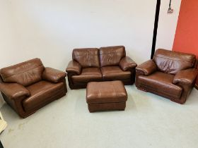 A GOOD QUALITY TAN LEATHER THREE PIECE LOUNGE SUITE WITH MATCHING FOOT STOOL
