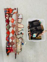 BOX OF INDIAN ITEMS TO INCLUDE FABRIC & BEADED BAGS,