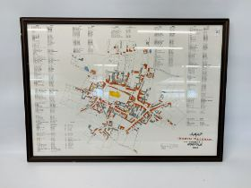 NORTH WALSHAM 1843 FRAMED MAP TOGETHER WITH A NORTH WALSHAM GAS WORKS PLAN (UNFRAMED) A/F