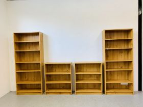TWO FULL HEIGHT PINE EFFECT SHELVING UNITS W 76CM. H 180CM. AND TWO PINE EFFECT SHELF UNITS W 76CM.