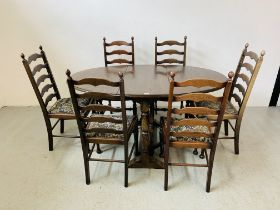 AN OVAL TOP OAK GATELEG DINING TABLE EXTENDED 152 X 91CM ALONG WITH A SET OF SIX LADDER BACK DINING