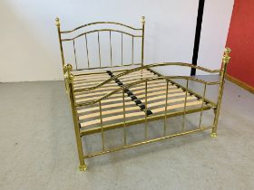 A REPRODUCTION TRADITIONAL BRASSED DOUBLE BEDSTEAD
