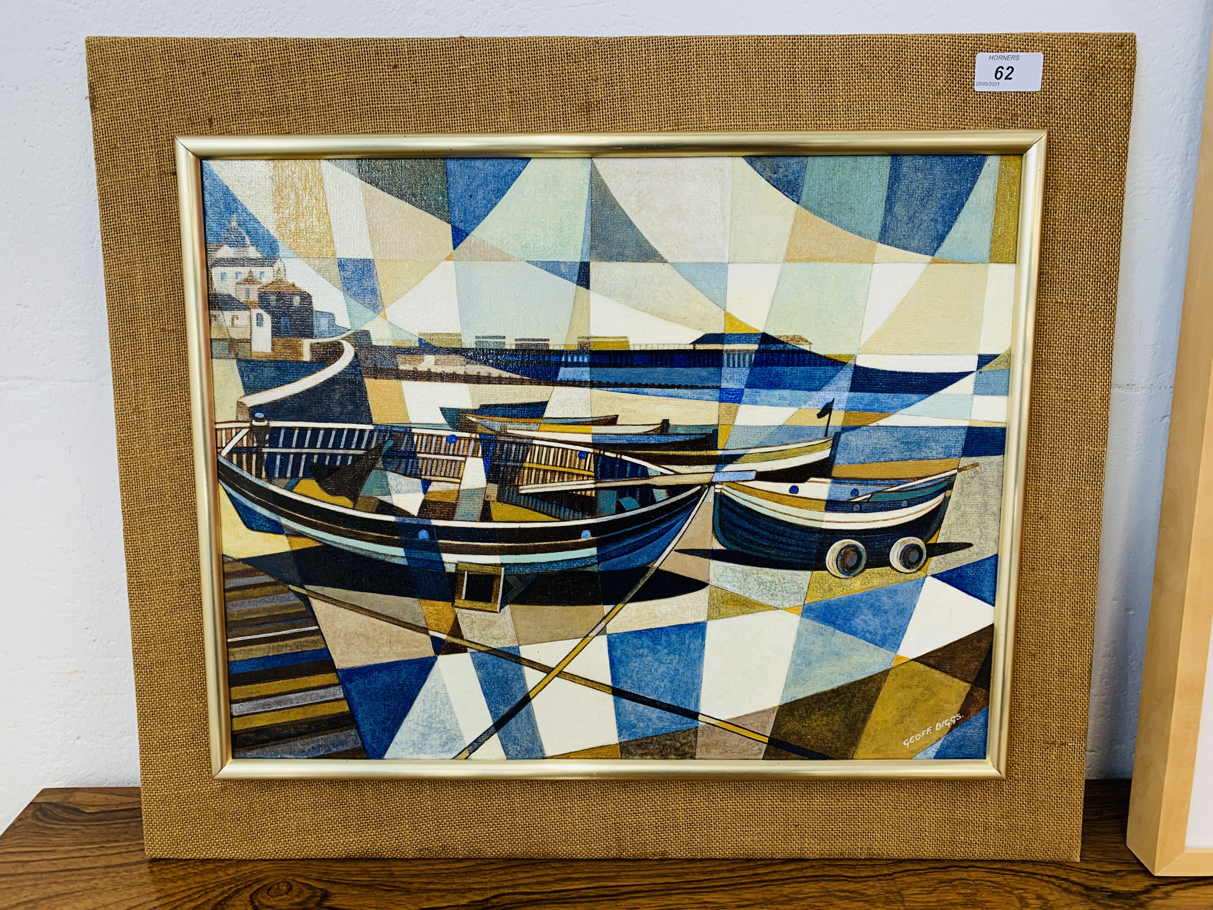 GEOFF BIGGS BEACH SCENE WITH BOATS, OIL ON BOARD 37 X 48 CM ALONG WITH J.O. - Image 4 of 5