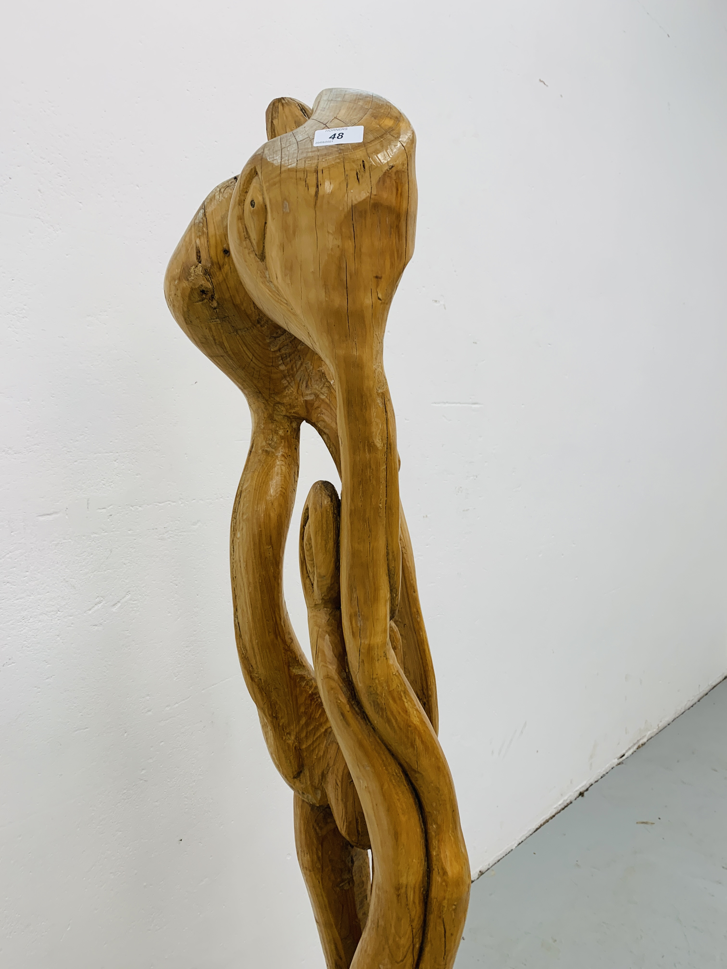 """A HARDWOOD ABSTRACT SCULPTURE """"FAMILY"""" BY P.T. - Image 7 of 9"""