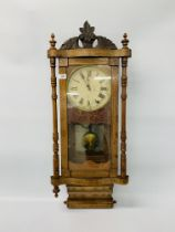 """A VICTORIAN MAHOGANY INLAID """"ROLLING PIN"""" WALL CLOCK THE MOVEMENT STRIKING ON A BELL"""