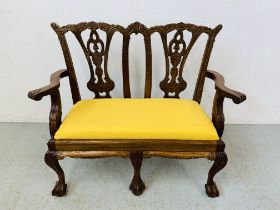 REPRODUCTION 2 SEATER CHILD'S CHAIR WITH YELLOW UPHOLSTERED INSERT - H 64CM X W 29CM X L 75CM.