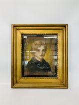 GILT FRAMED PASTEL PORTRAIT OF A YOUNG BOY BEARING SIGNATURE J. WALKER HANSON 94 APPROX H 46CM.