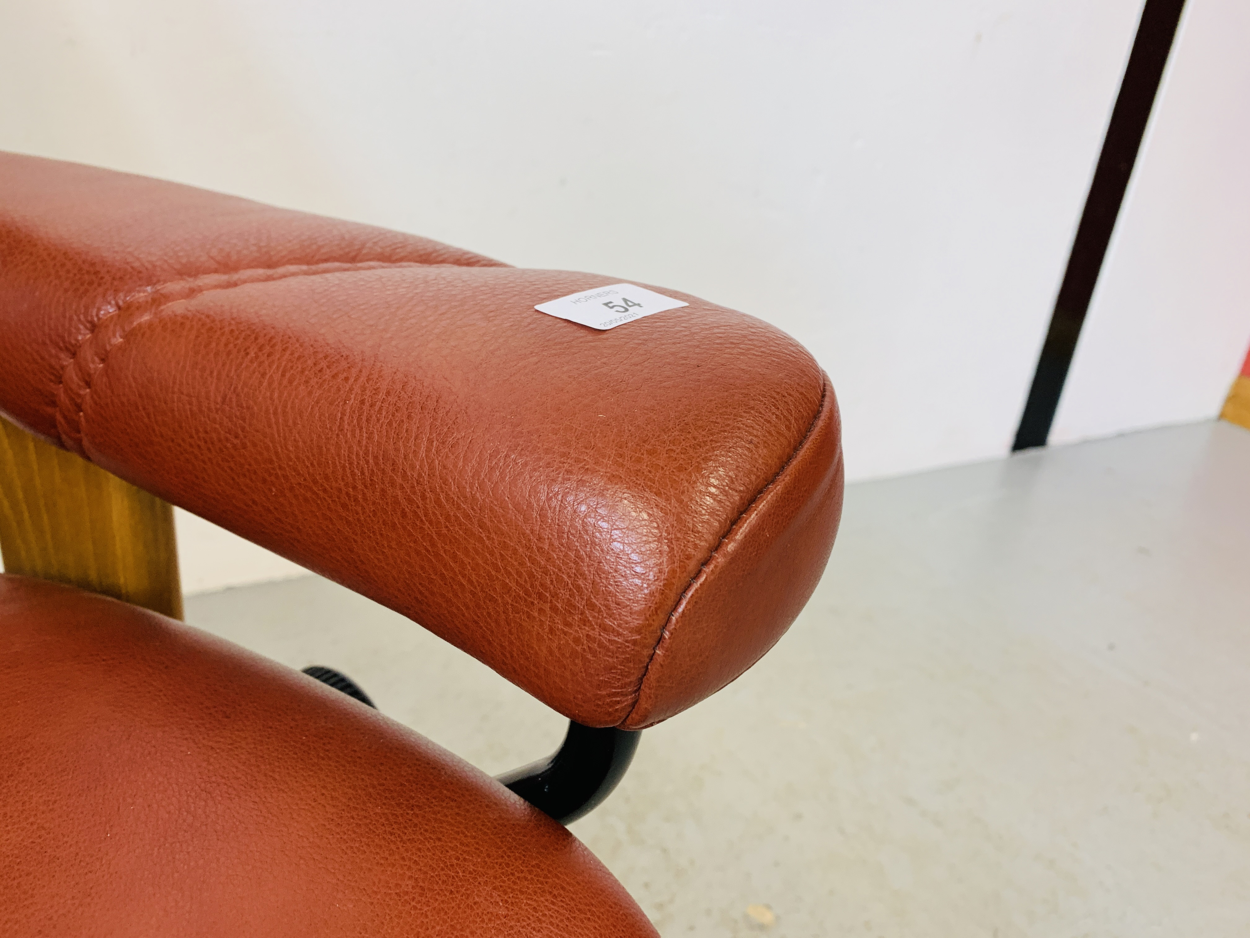 A STRESSLESS TAN LEATHER RELAXER CHAIR - Image 9 of 12