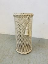 EDWARDIAN WHITE PAINTED METAL STICK STAND - H 49CM.