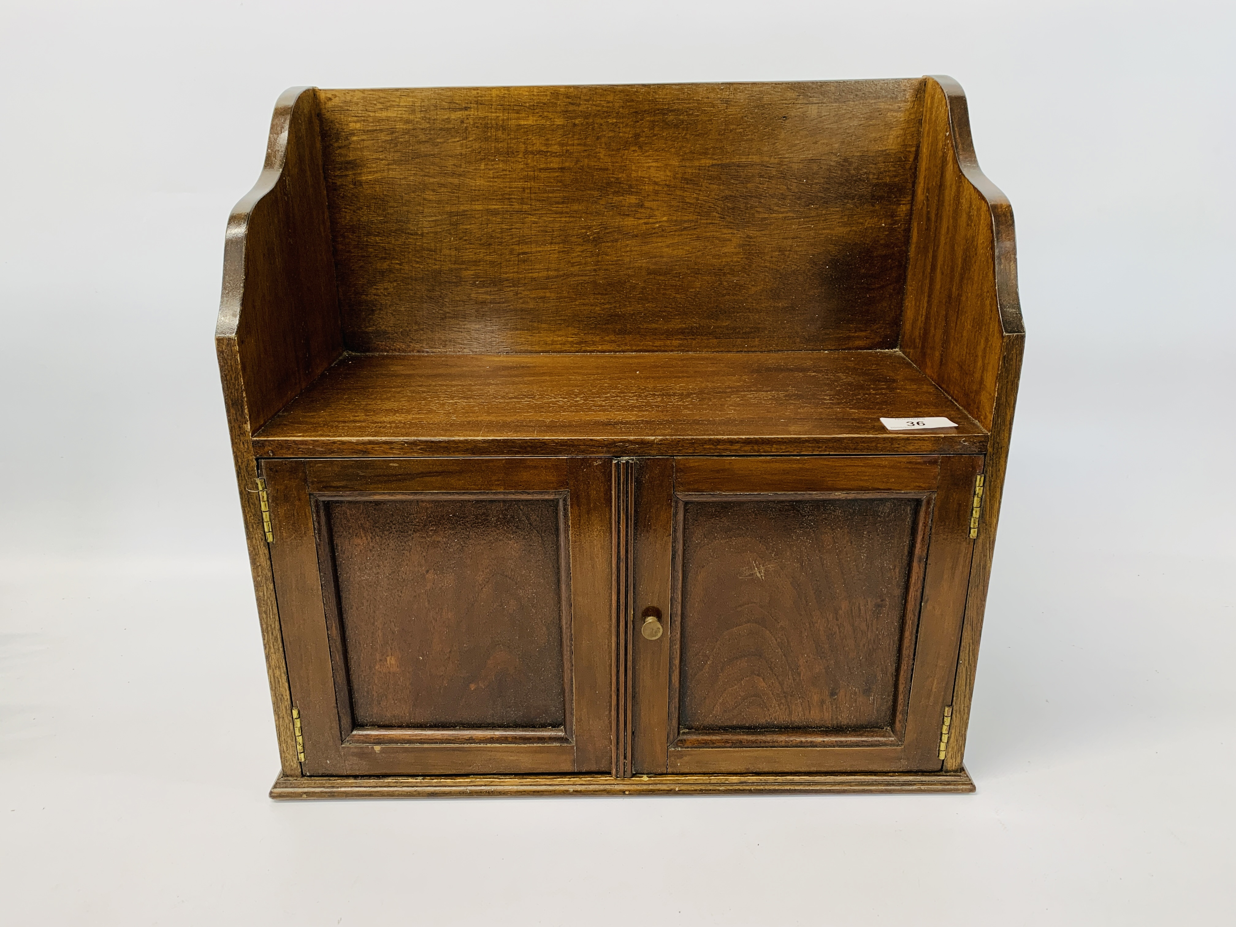 CARVED OAK WALL BRACKET ALONG WITH A VINTAGE MAHOGANY WALL CABINET