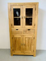 HARDWOOD ACACIA PART GLAZED CABINET WITH TWO CENTRAL DRAWERS - W 90CM. D 40CM. H 180CM.