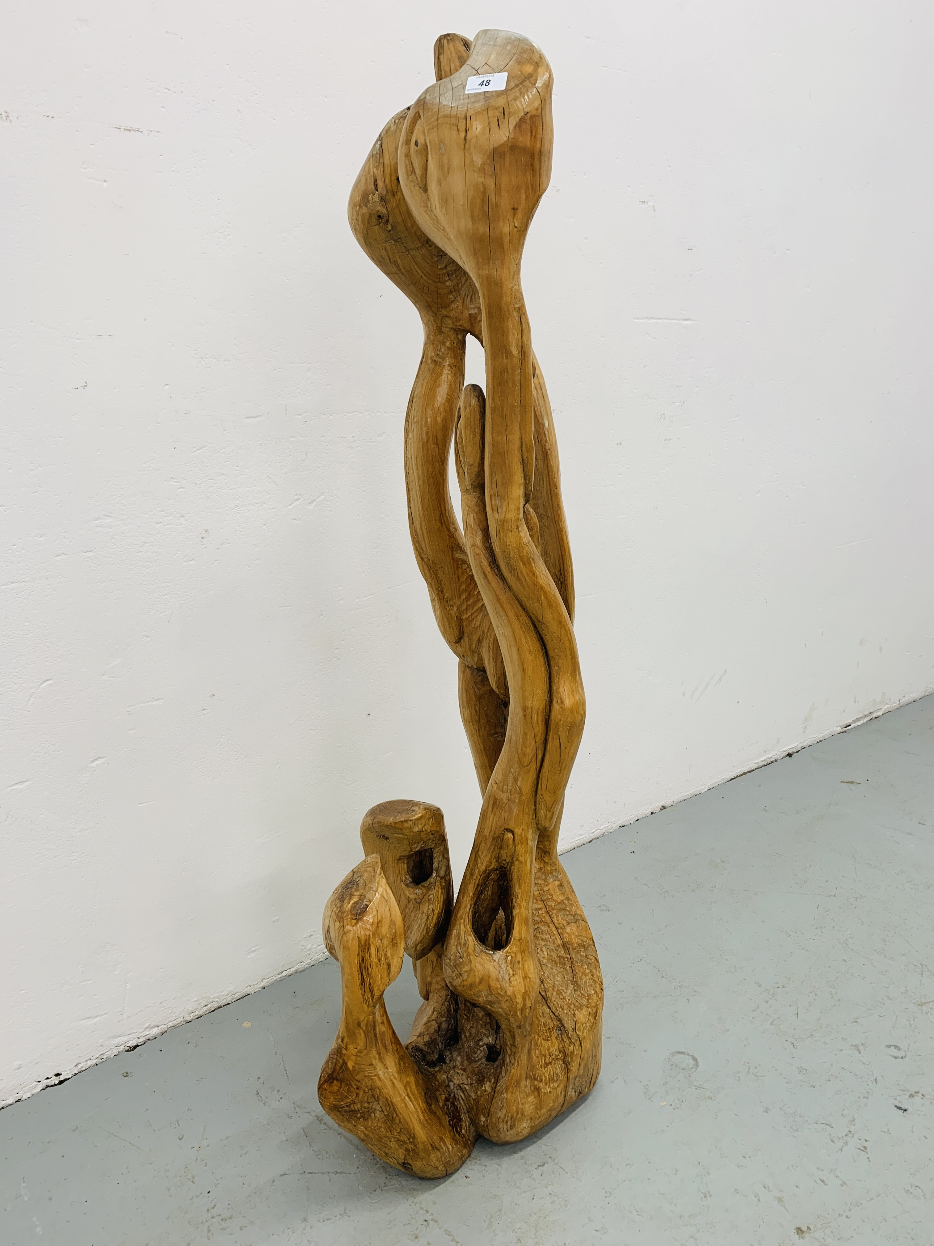 """A HARDWOOD ABSTRACT SCULPTURE """"FAMILY"""" BY P.T. - Image 2 of 9"""