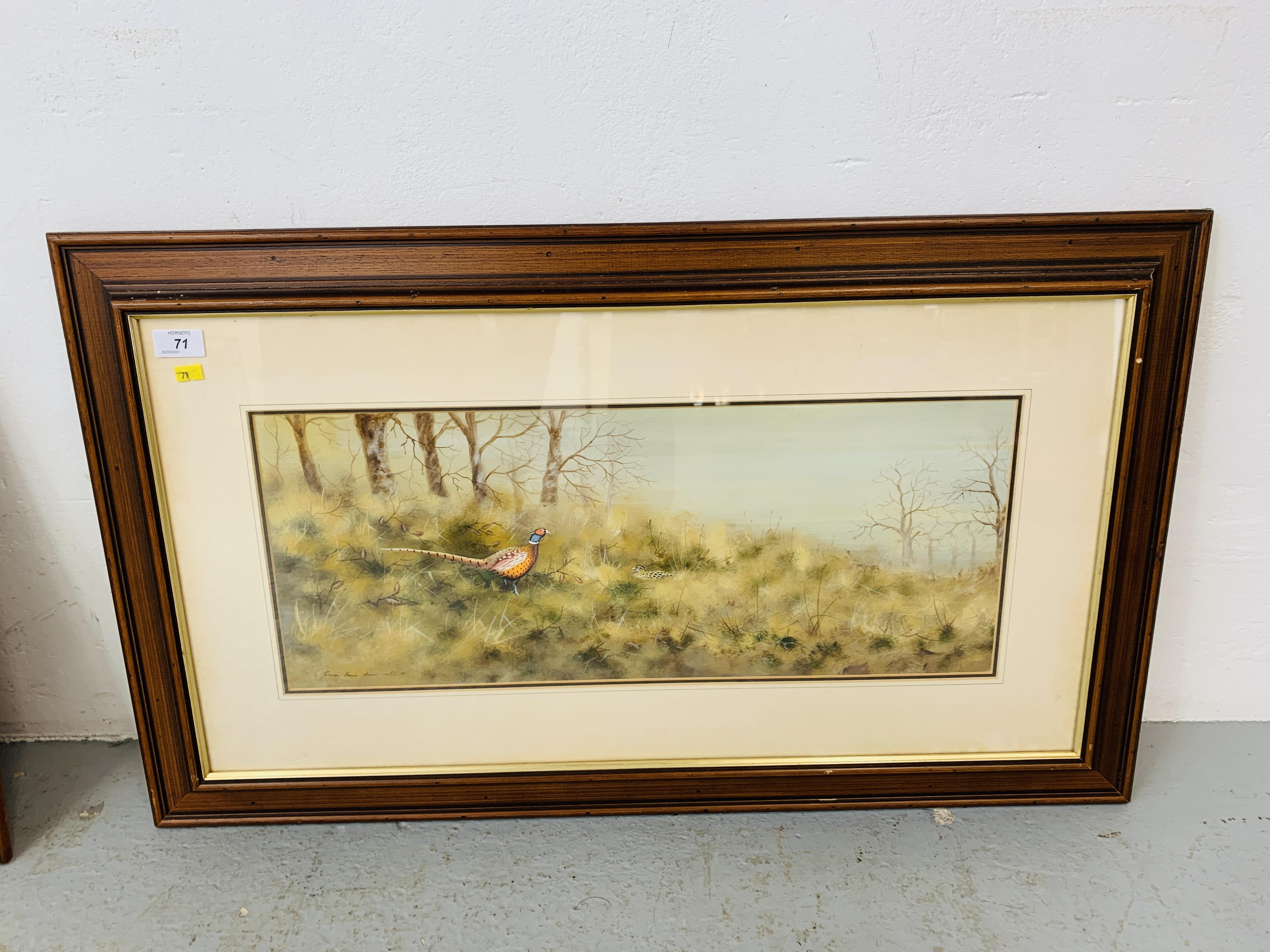 "TWO FRAMED STEPHEN FRANCIS ALLEN WATERCOLOURS ""HERON & GEESE IN WETLAND SCENE"" 25 X 72. - Image 2 of 3"