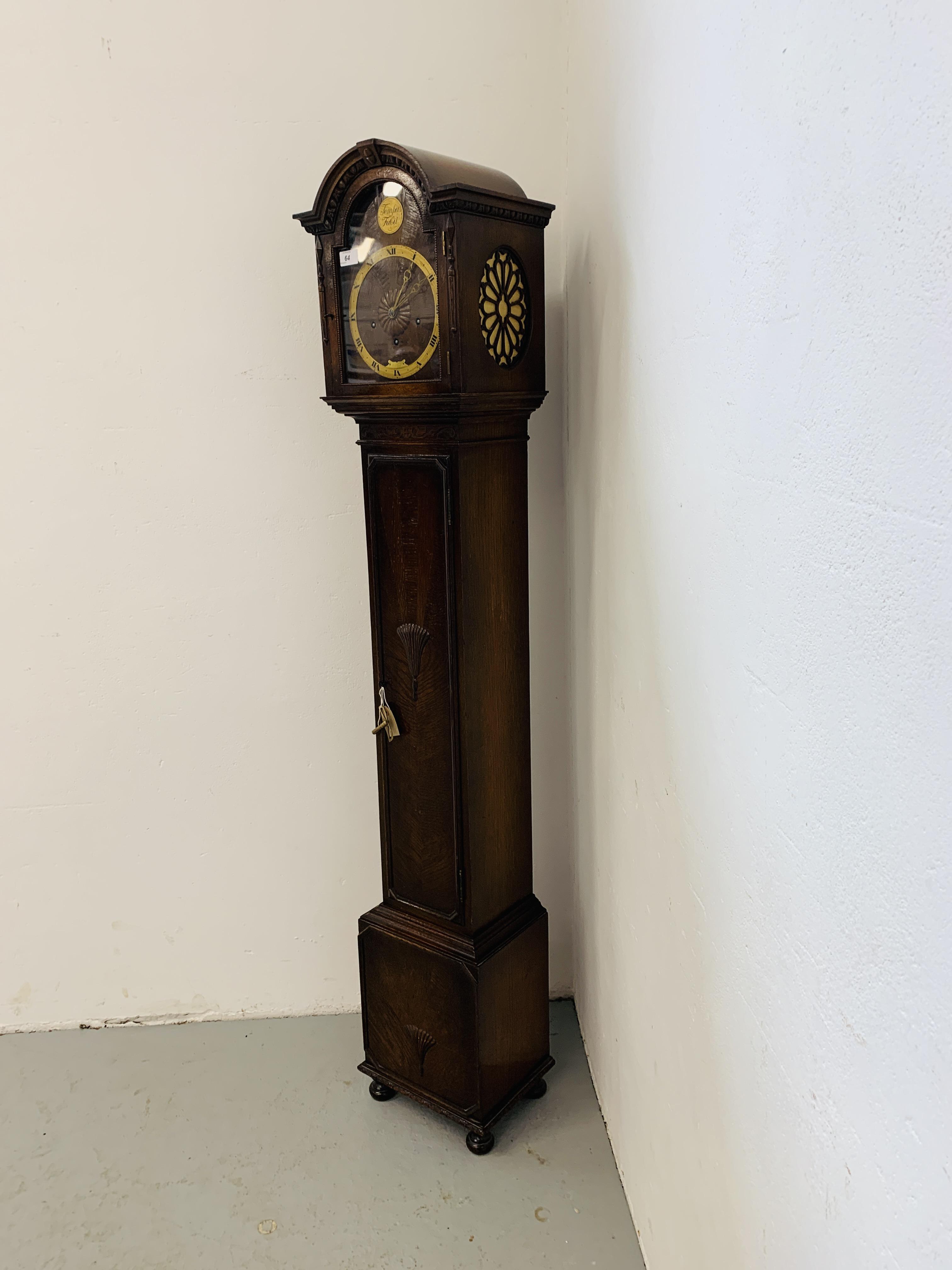 A 1940'S OAK CASED GRANDMOTHER CLOCK, - Image 2 of 12