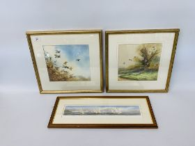 """A PAIR OF FRAMED AND MOUNTED SIMON TRINDER WATERCOLOURS """"GREY PARTRIDGES OVER HEDGE"""" & """"GREY"""
