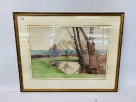 WATERCOLOUR COTTAGES AND POND BEARING SIGNATURE R.G.