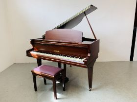 A CHALLEN IRON FRAME OVERSTRUNG BABY GRAND PIANO AND MUSIC STOOL