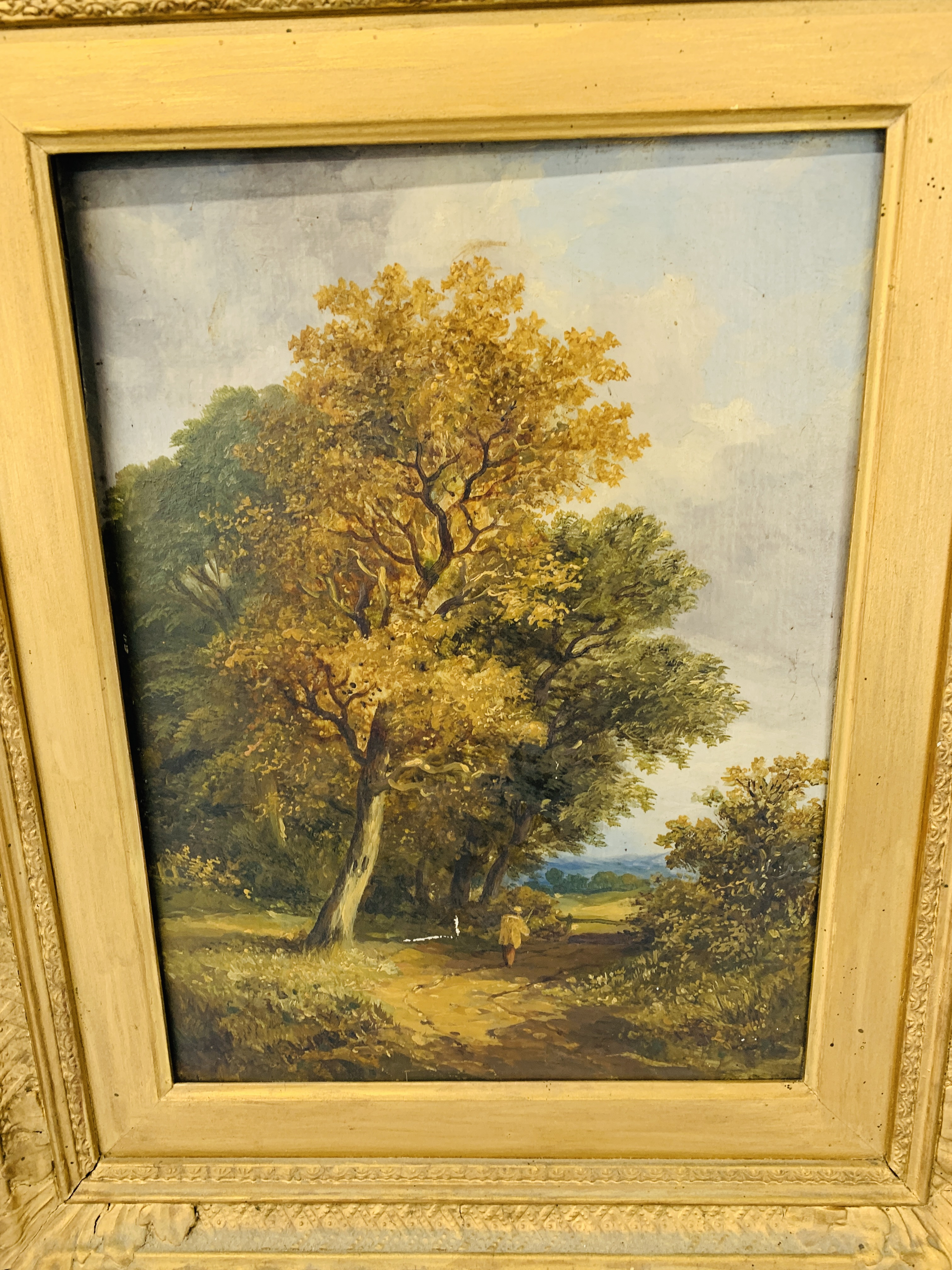 ATTRIBUTED TO OBADIAH SHORT OIL ON BOARD 32 X 24CM A FIGURE BY AN OAK TREE - Image 2 of 3