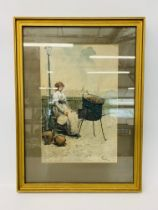 "FRAMED WATERCOLOUR ""THE CHESTNUT SELLER"" BAY OF NAPLES 1884 BEARING SIGNATURE B."