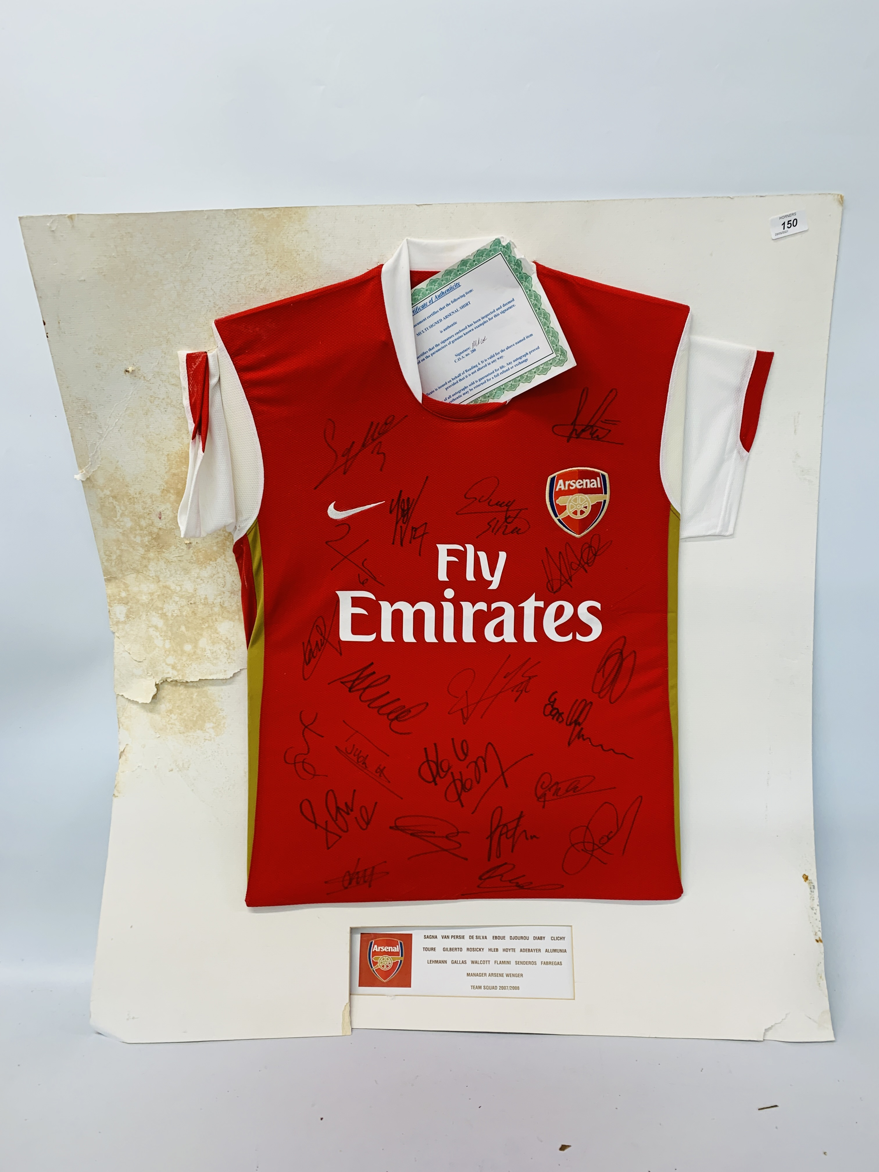 A MULTI SIGNED ARSENAL FOOTBALL SHIRT TEAM SQUAD 2007 / 2008 WITH CERTIFICATE AND FRAMED SIGNED - Image 8 of 13