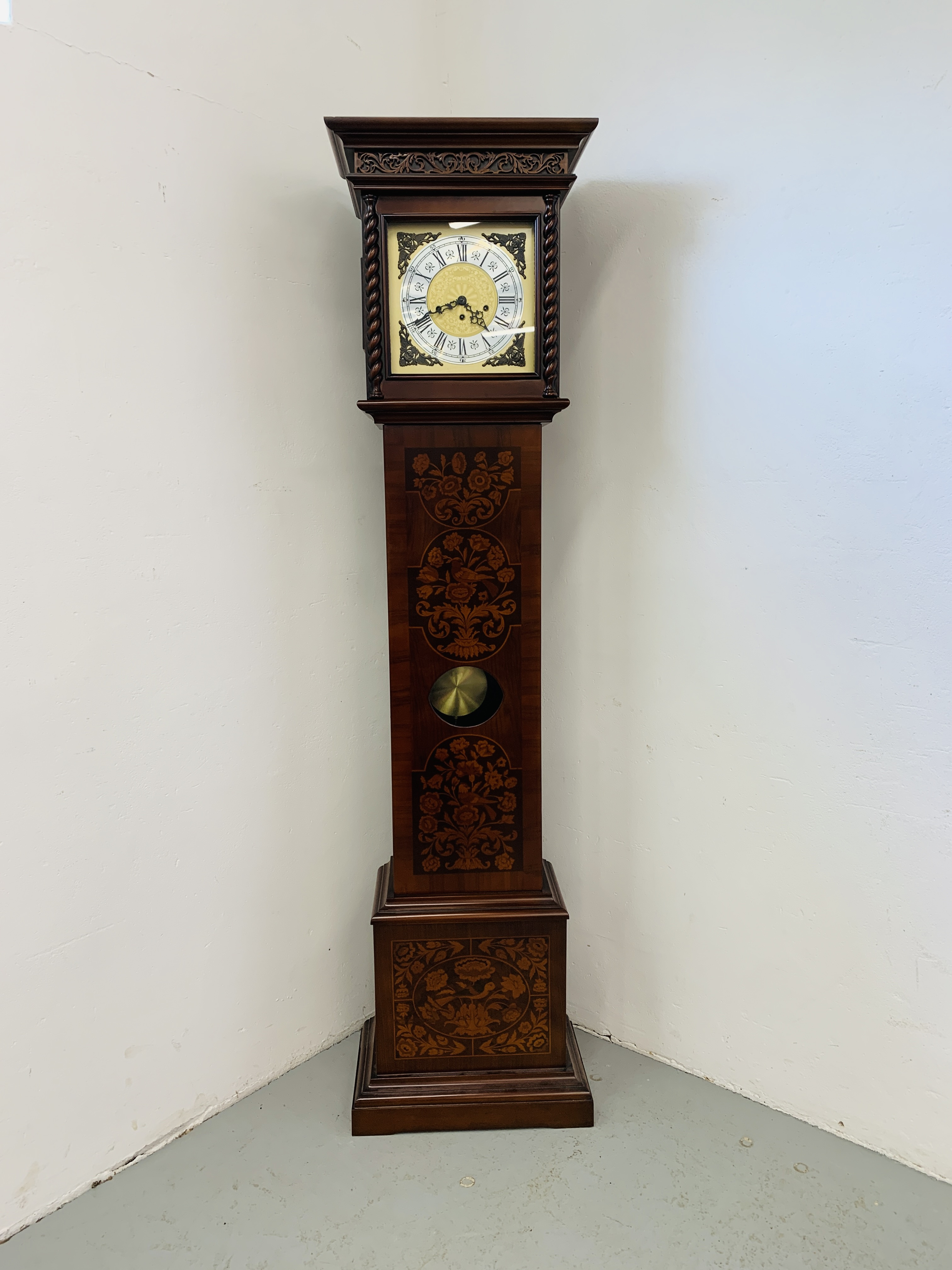 A GOOD QUALITY REPRODUCTION LONG CASE CLOCK - WESTMINSTER CHIME - SOLD AS SEEN