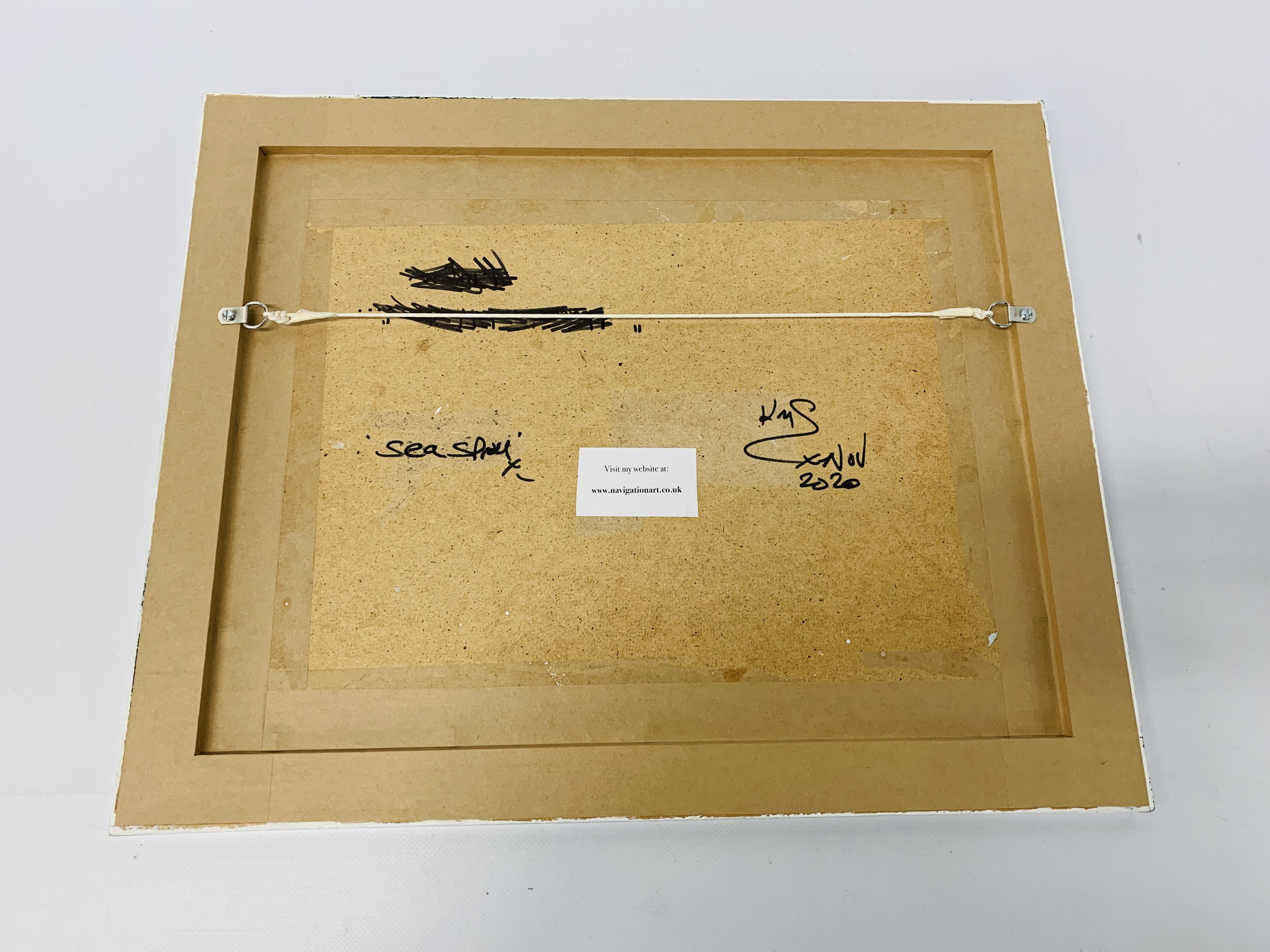 "AN ORIGINAL KRYS LEACH OIL ON BOARD NUDE STUDY ""SEA SPRAY"" 33 CM X 42 CM. - Image 2 of 2"