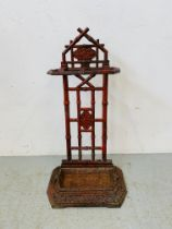 ANTIQUE CAST IRON UMBRELLA STAND - BAMBOO DESIGN (FLAKED RED PAINT) H 70CM.