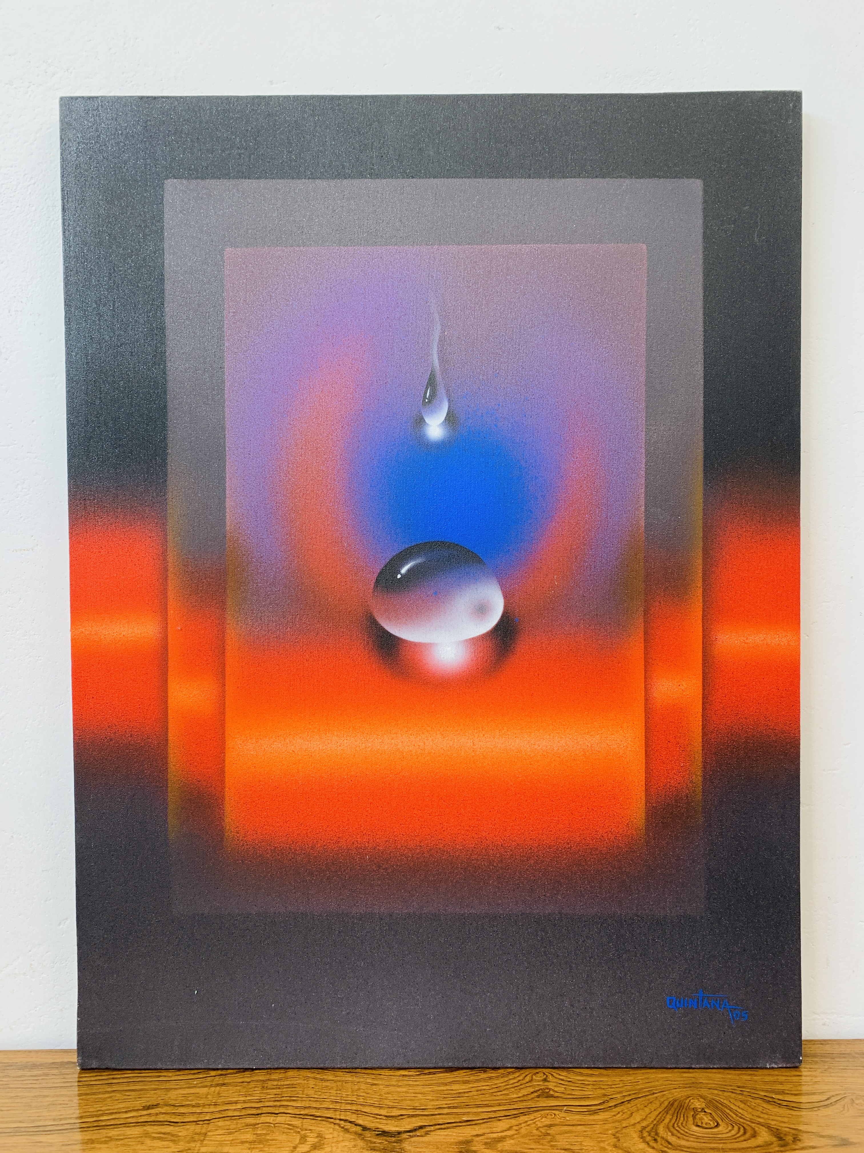 """QUINTANA - AN ABSTRACT OF A """"FALLING DROP"""" OIL ON CANVAS 80 X 60CM SIGNED AND DATED 05"""