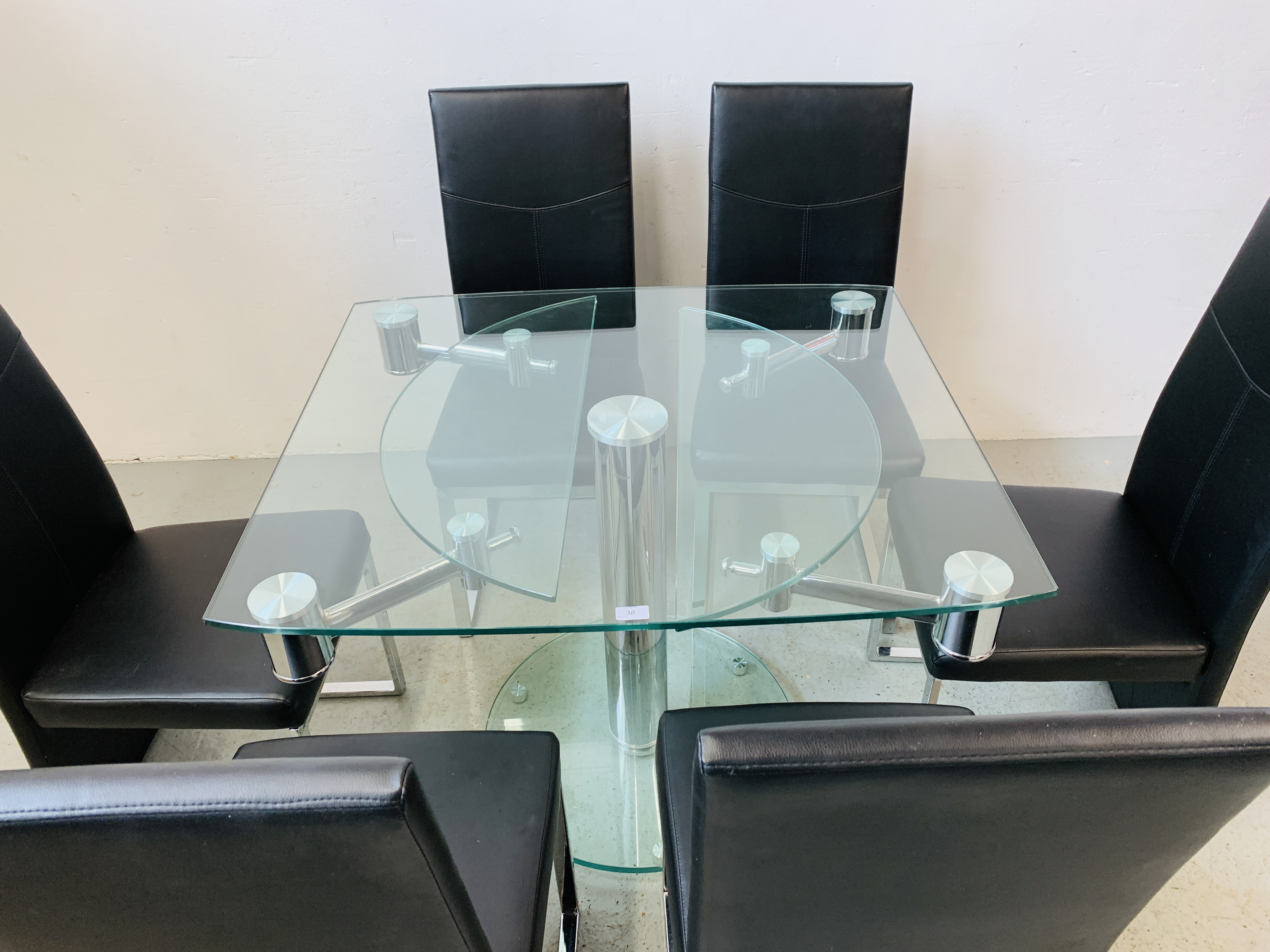 A DESIGNER GLASS AND CHROME PEDESTAL DINING TABLE WITH SET OF SIX CHROME FRAMED LEATHERETTE DINING - Image 14 of 17