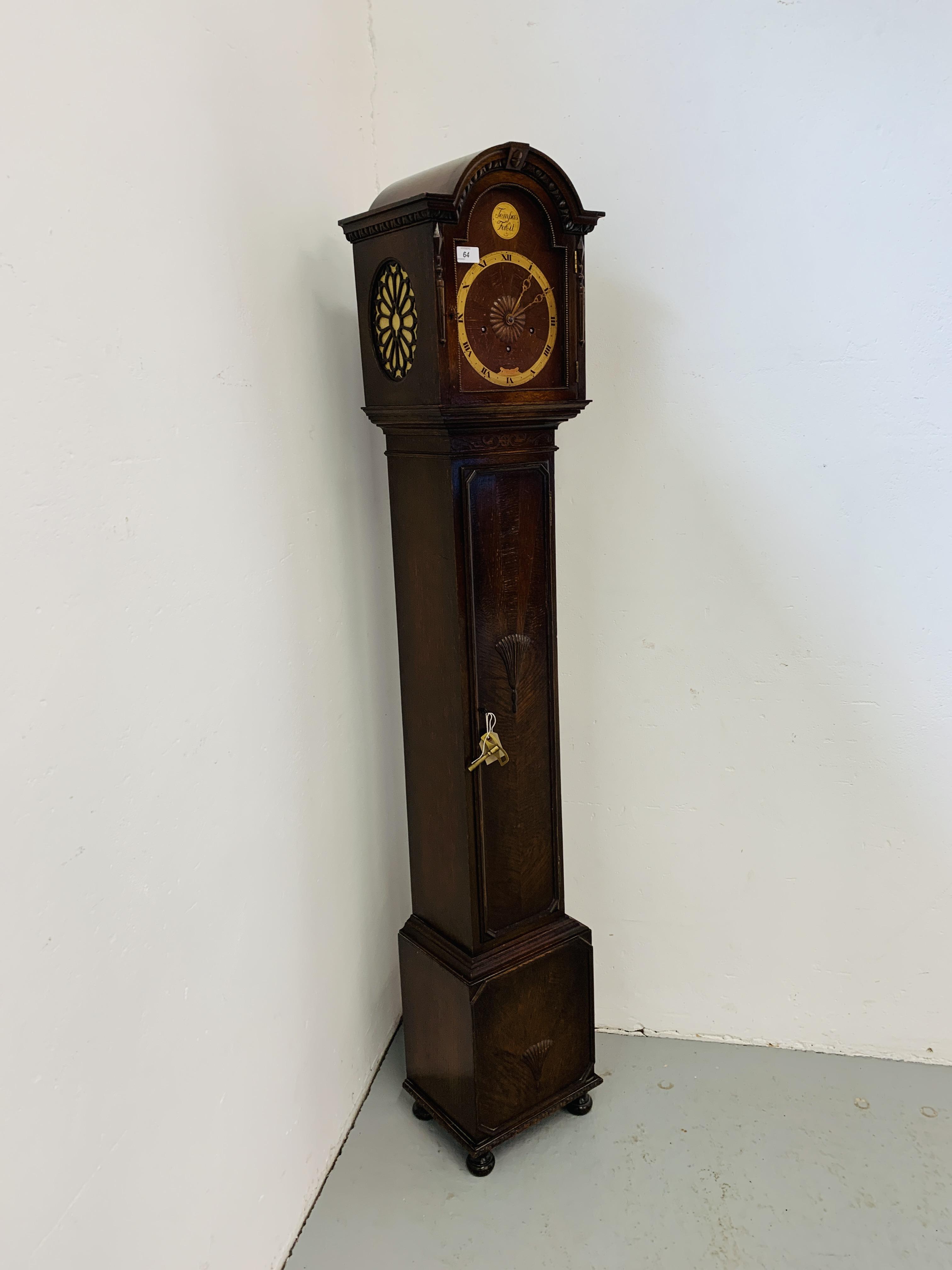 A 1940'S OAK CASED GRANDMOTHER CLOCK, - Image 3 of 12