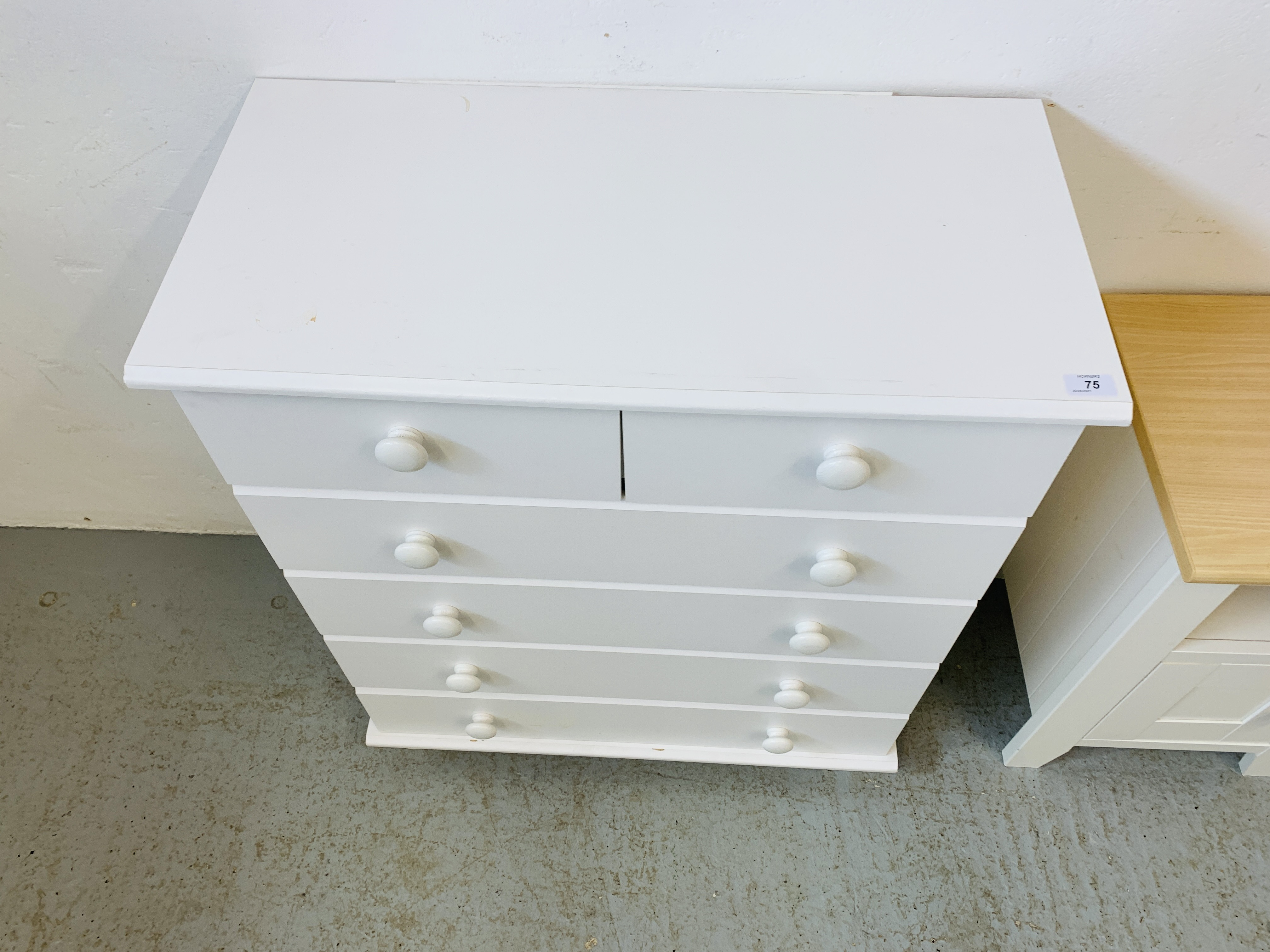 A MODERN WHITE FINISH TWO OVER FOUR CHEST OF DRAWERS - W 78CM. H 90CM. D 40CM. - Image 6 of 9
