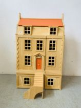 A GEORGIAN STYLE MODERN FOUR STOREY DOLLS HOUSE WITH FURNISHINGS AND FIGURES - W 64CM. D 34CM.