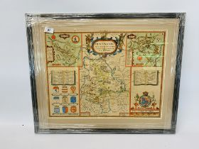VINTAGE HUNTINGTON HAND COLOURED FRAMED MAP BY JOHN SPEED