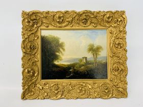 C19 GILT FRAMED OIL ON BOARD DEPICTING CONTINENTAL STREAM AND FOLLY WITH FIGURE - NO VISIBLE