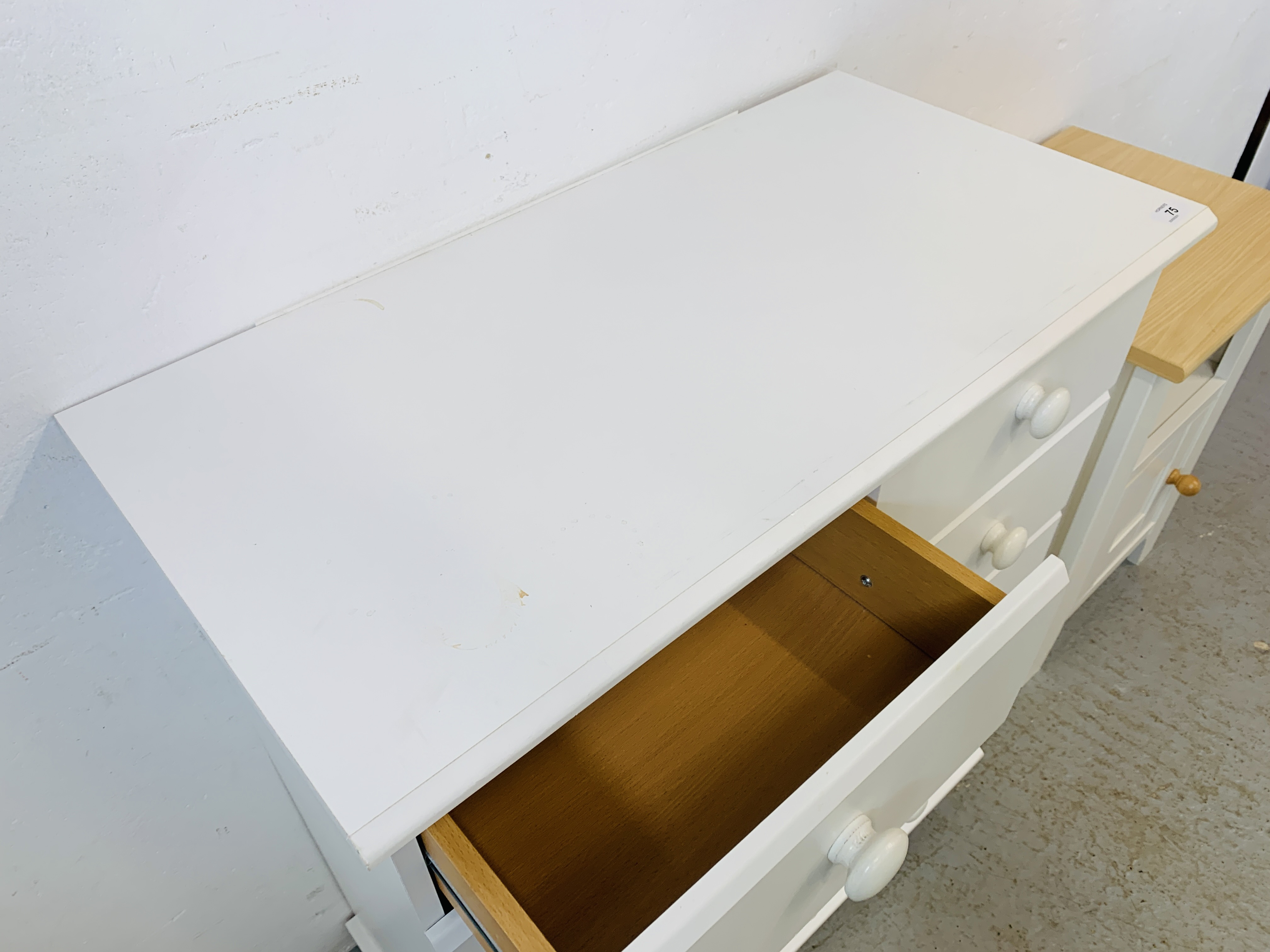 A MODERN WHITE FINISH TWO OVER FOUR CHEST OF DRAWERS - W 78CM. H 90CM. D 40CM. - Image 9 of 9