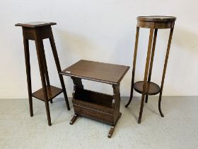 A SOLID OAK OCCASIONAL TABLE WITH MAGAZINE RACK BELOW ALONG WITH TWO PLANT STANDS