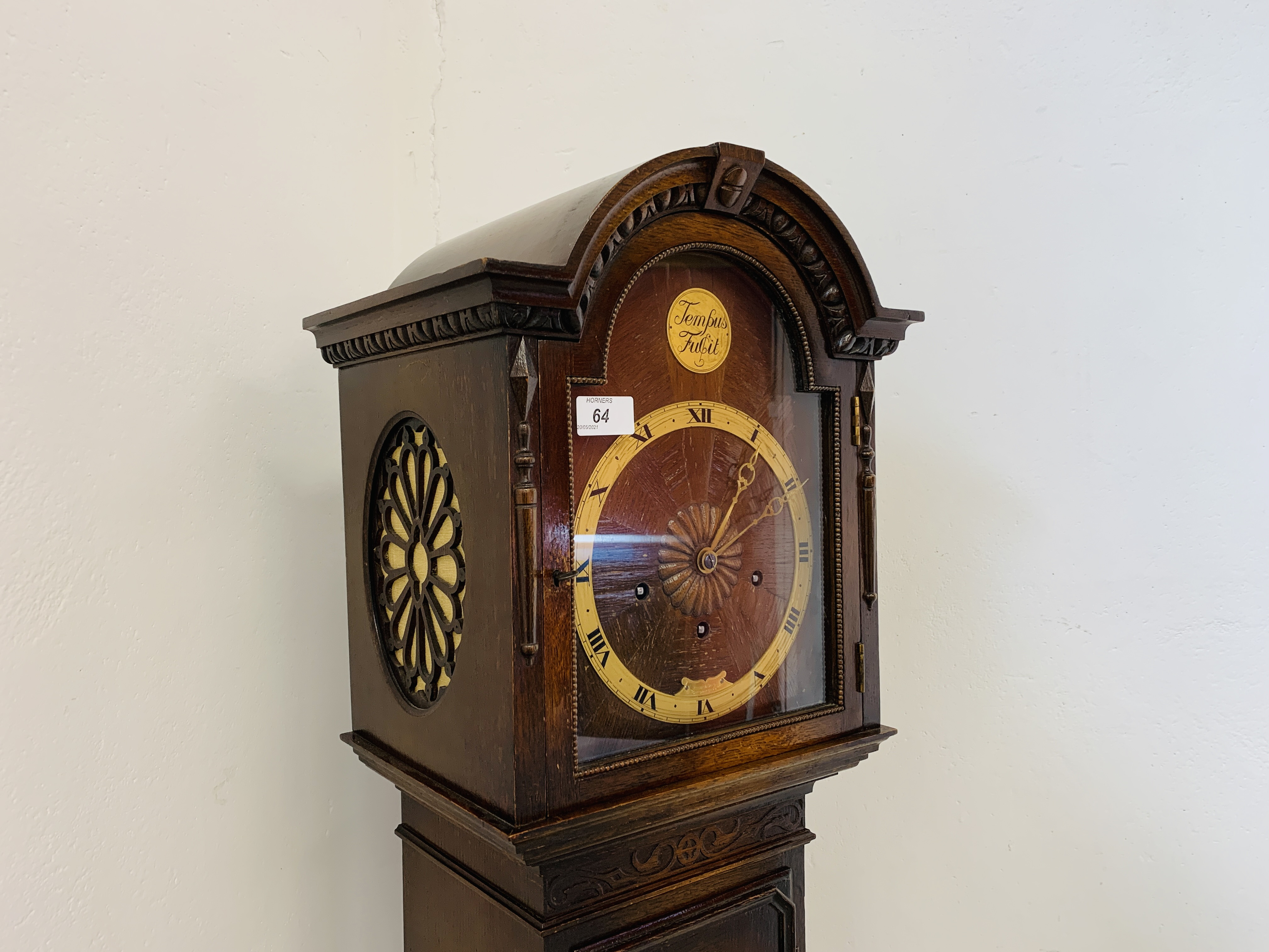 A 1940'S OAK CASED GRANDMOTHER CLOCK, - Image 4 of 12