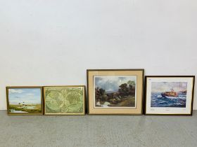 A GROUP OF NINE VARIOUS FRAMED PRINTS AND PICTURES TO INCLUDE NUNEZ SEGURA LTD EDITION WHITBY LIFE