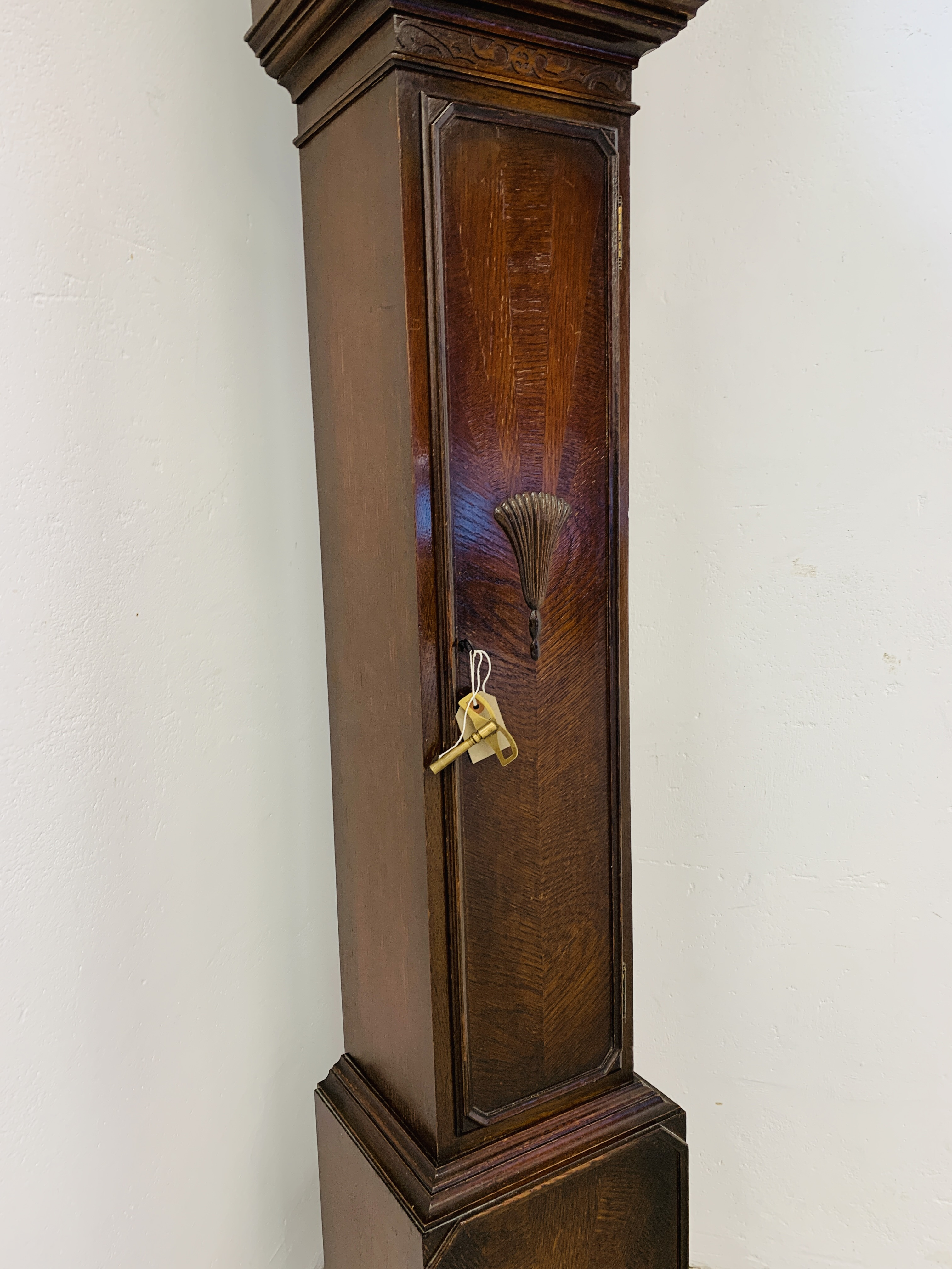 A 1940'S OAK CASED GRANDMOTHER CLOCK, - Image 6 of 12