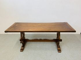 A HEAVY OAK REFECTORY STYLE DINING TABLE - 182 CM X 68 CM