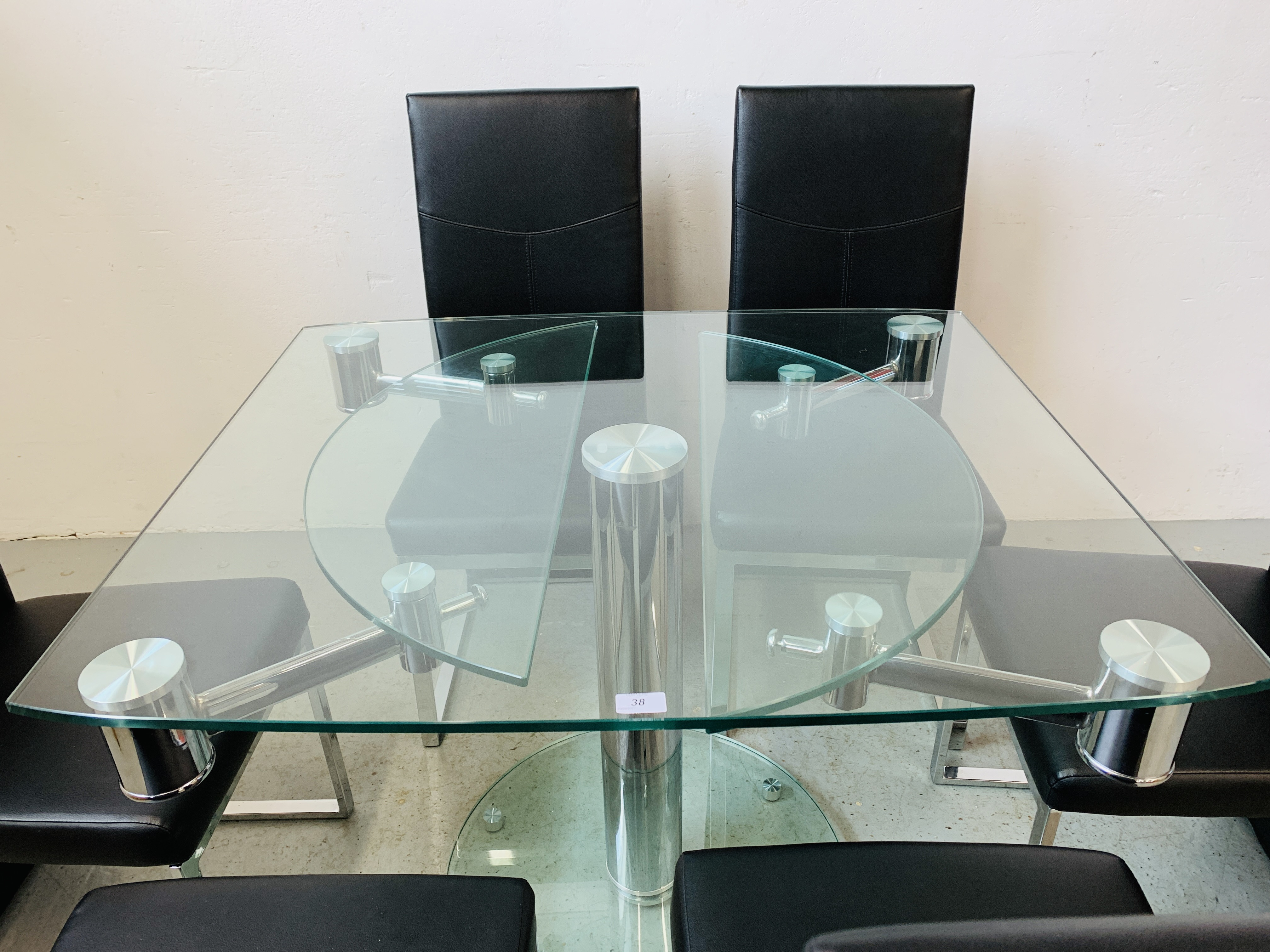 A DESIGNER GLASS AND CHROME PEDESTAL DINING TABLE WITH SET OF SIX CHROME FRAMED LEATHERETTE DINING - Image 16 of 17
