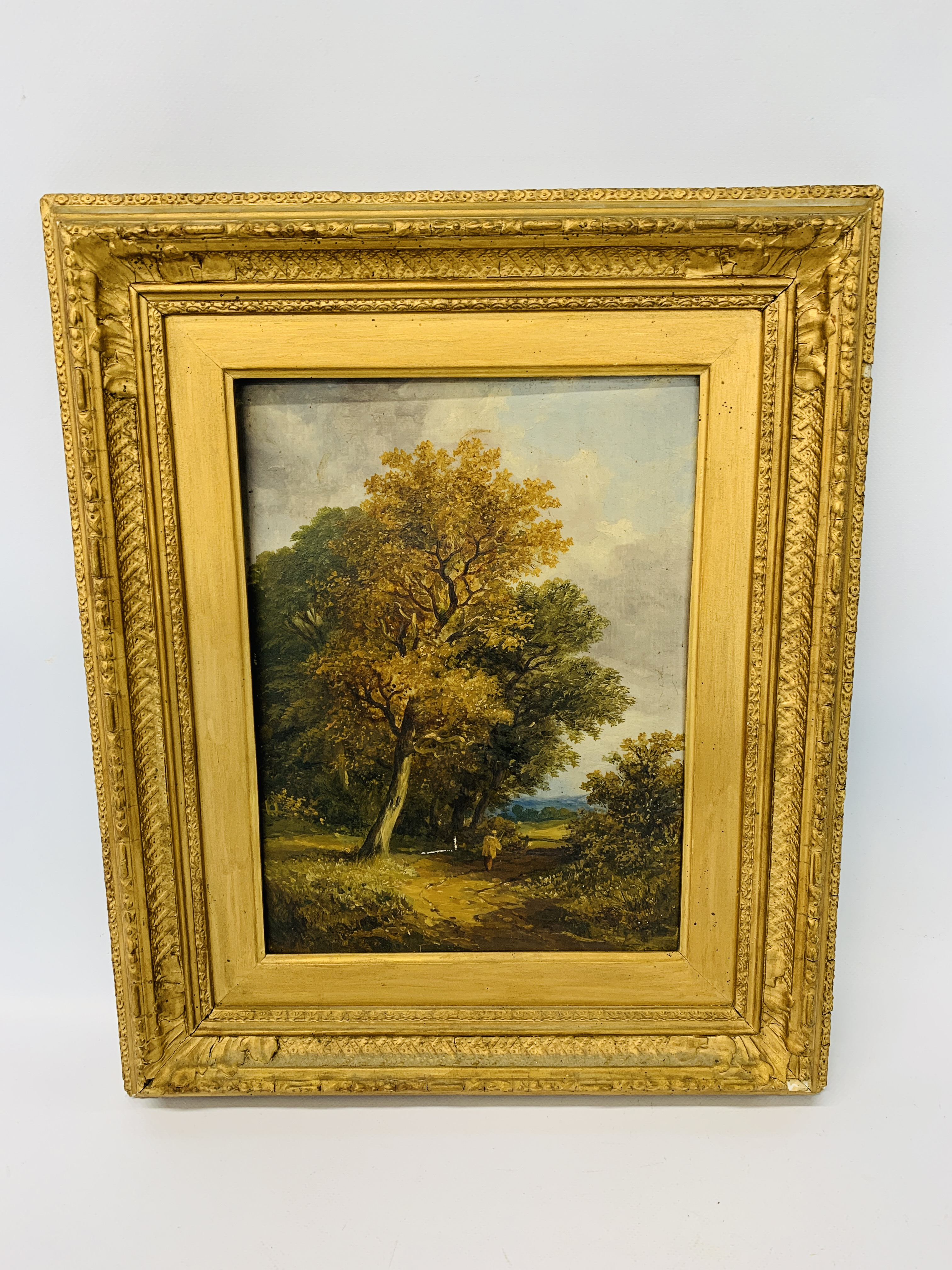 ATTRIBUTED TO OBADIAH SHORT OIL ON BOARD 32 X 24CM A FIGURE BY AN OAK TREE