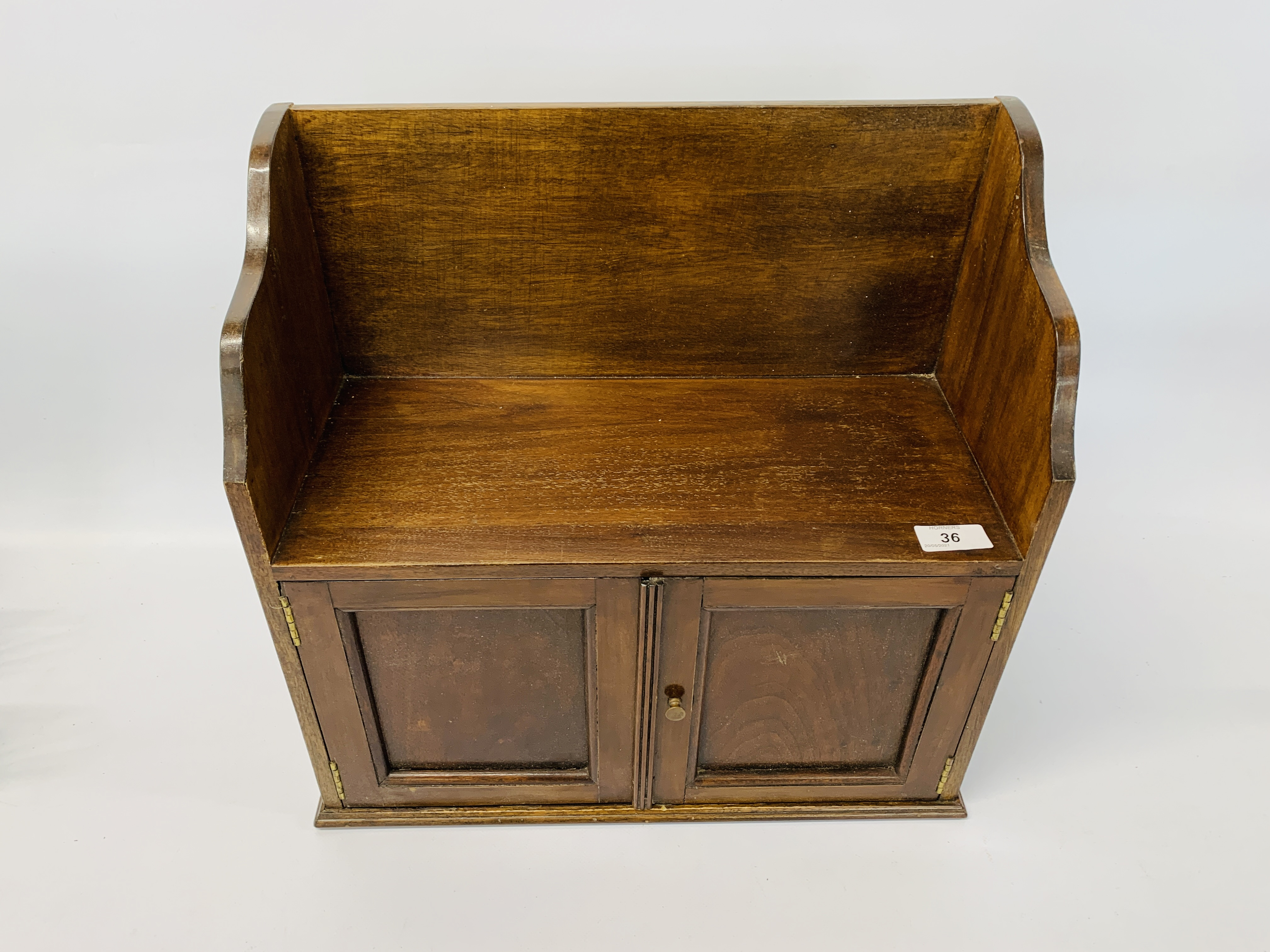 CARVED OAK WALL BRACKET ALONG WITH A VINTAGE MAHOGANY WALL CABINET - Image 2 of 8