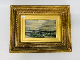 "GILT FRAMED OIL BEARING SIGNATURE ""E.W. COOKE ARA"" SMUGGLER ON A ROCKY COAST LINE."