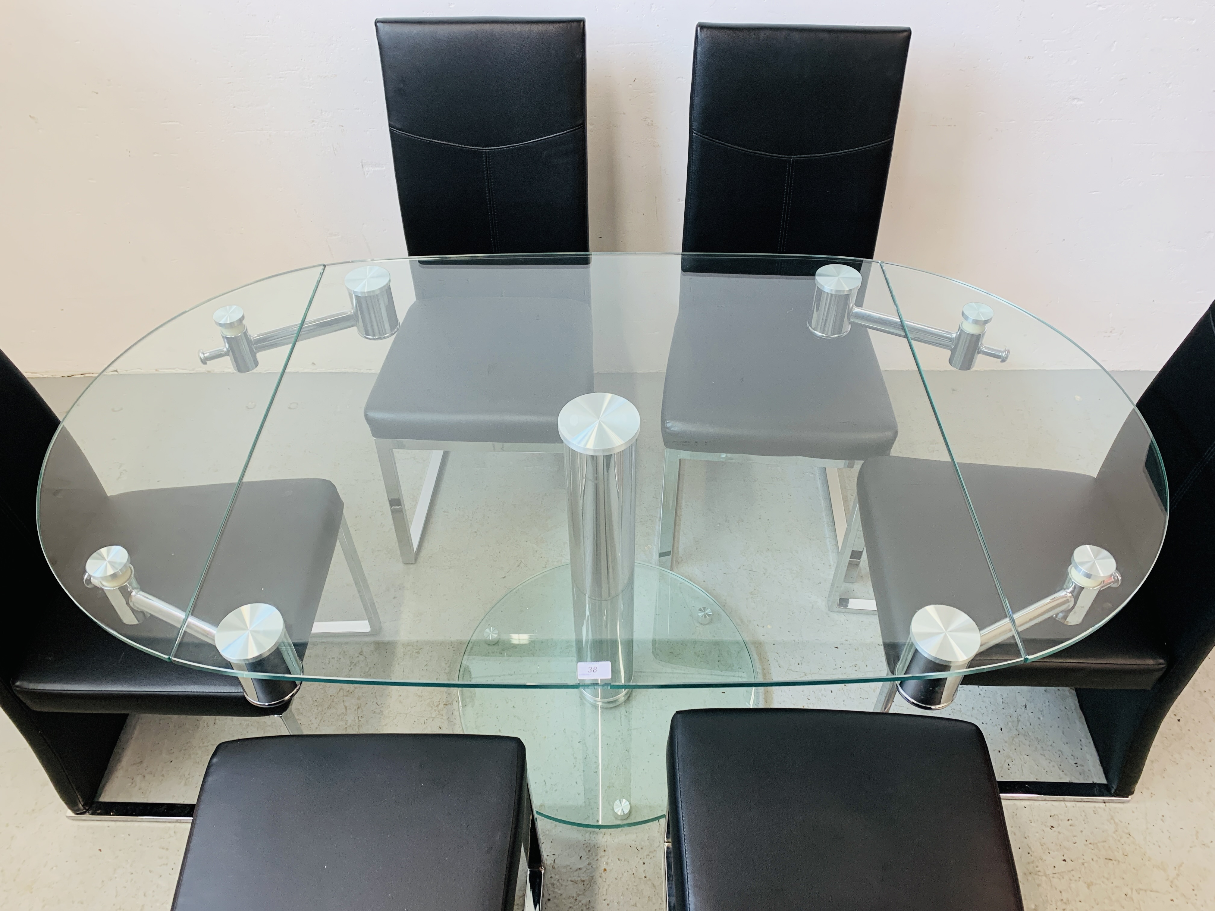 A DESIGNER GLASS AND CHROME PEDESTAL DINING TABLE WITH SET OF SIX CHROME FRAMED LEATHERETTE DINING - Image 9 of 17
