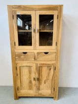 HARDWOOD ACACIA GLAZED CABINET WITH TWO CENTRAL DRAWERS - W 90CM. D 40CM. H 180CM.