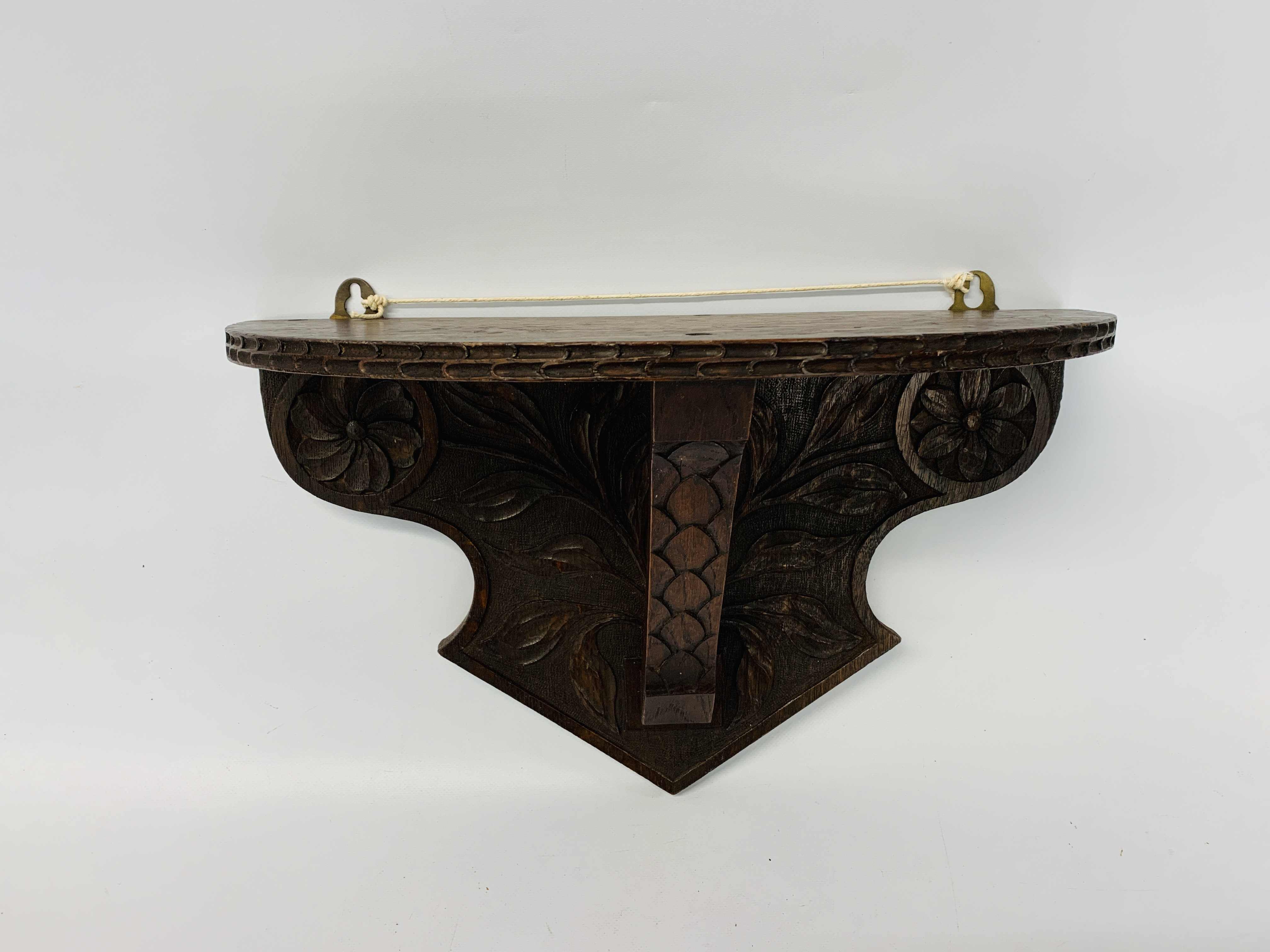 CARVED OAK WALL BRACKET ALONG WITH A VINTAGE MAHOGANY WALL CABINET - Image 8 of 8