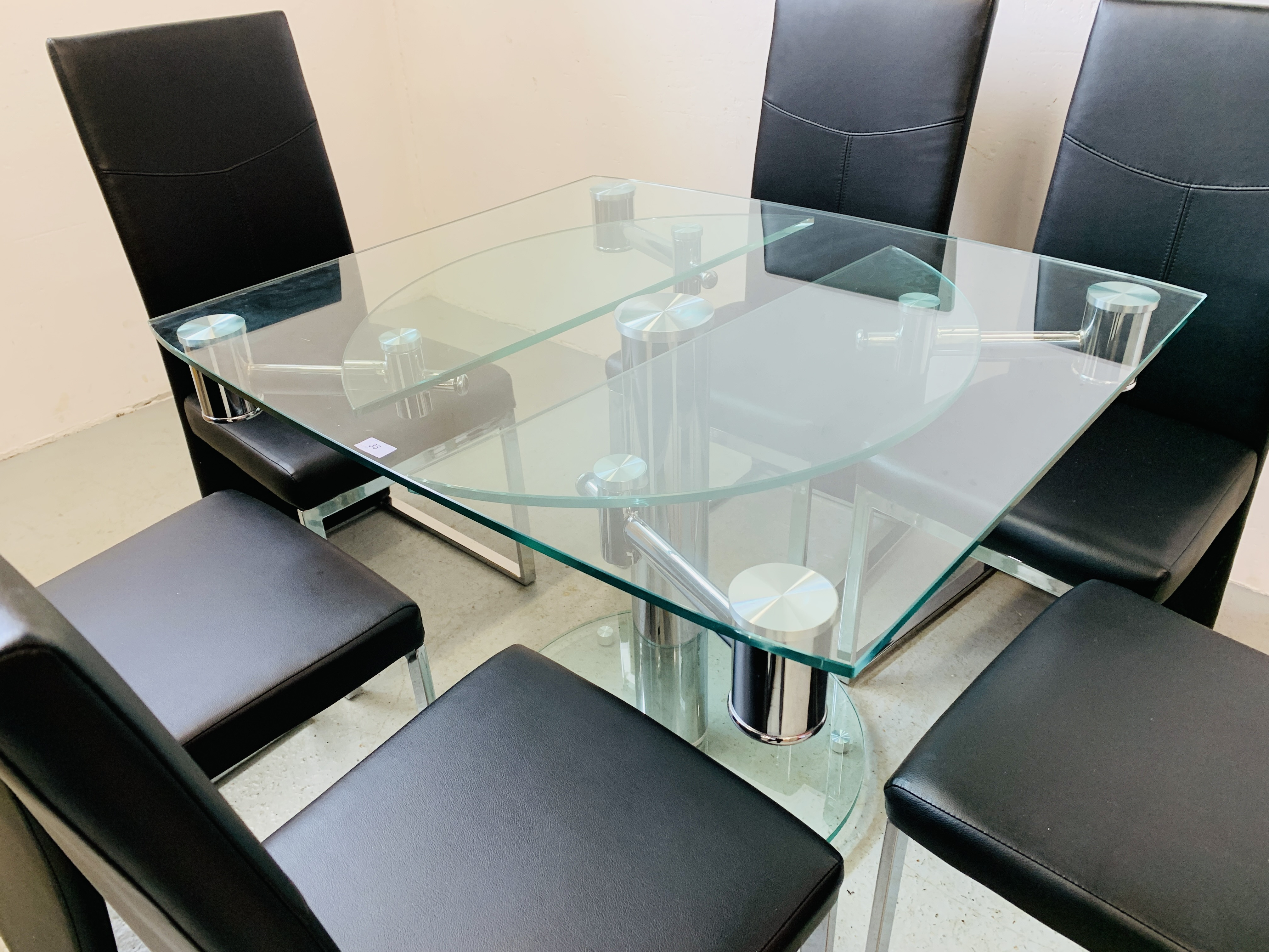 A DESIGNER GLASS AND CHROME PEDESTAL DINING TABLE WITH SET OF SIX CHROME FRAMED LEATHERETTE DINING - Image 17 of 17
