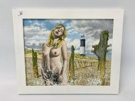 """AN ORIGINAL KRYS LEACH OIL ON BOARD NUDE STUDY """"SEA SPRAY"""" 33 CM X 42 CM."""